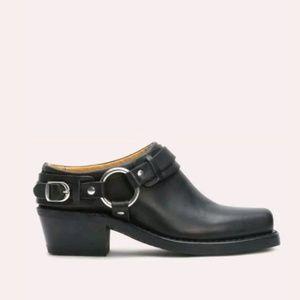 Vintage Frye black leather belted harness mules